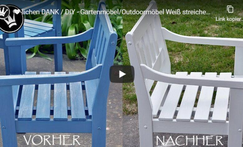 Bild von DIY – Gartenmöbel/Outdoormöbel Weiß streichen – Vorbereitung & Anstrichaufbau