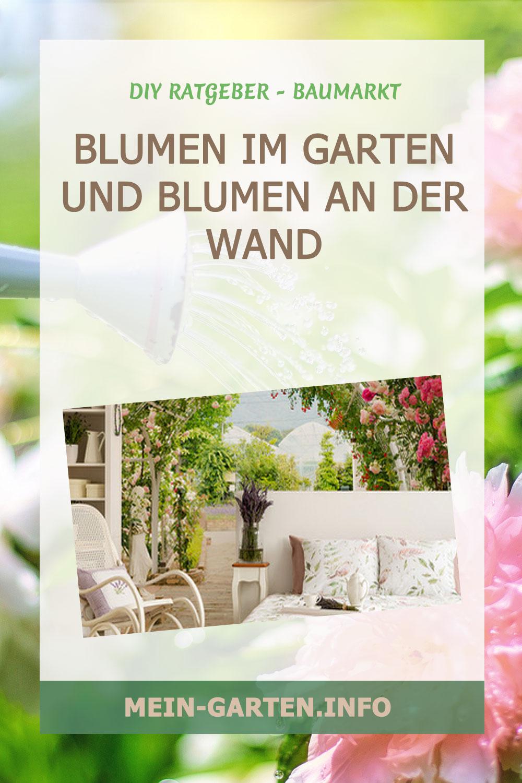 Blumen im Garten und Blumen an der Wand