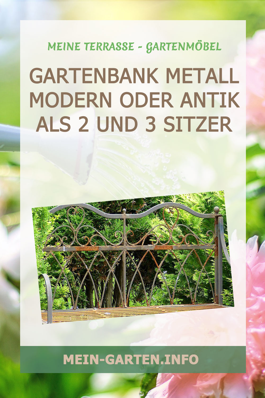 Gartenbank Metall modern oder antik als 2 und 3 Sitzer